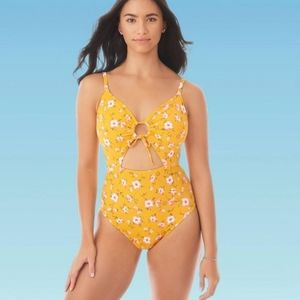 Slimming Control Drawstring Cut Out One Piece Swim